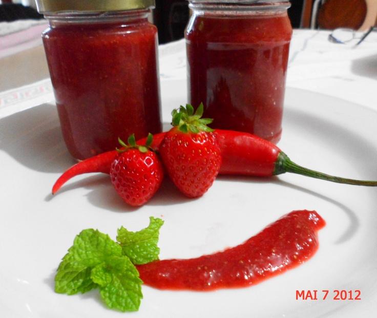 Geleia Diet de Morango com Pimenta http://borbolsnacozinha.blogspot.com.br/2012/05/geleia-diet-de-morango-com-pimenta.html