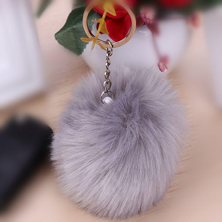 2016 new 11 color trinket Keychain pompons keychains fake fur Keychain fluffy key chains for cars keyrings trinkets