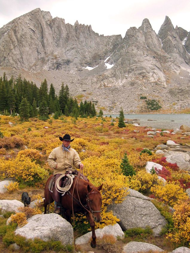"Jason Palmer near Wind Rivers, Wyoming.""We packed in on horses 19.3 miles for a 6 day camping and fishing trip. We were out looking for A Grizzly Bear we heard was in the area and stumbled upon this beautiful canyon and lake."""