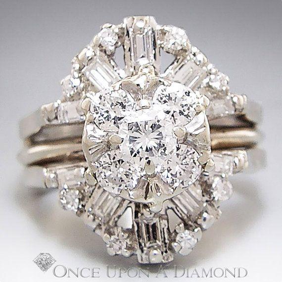 125ctw Round Baguette Diamond Cluster Engagement Ring Guard Set 14K 119500
