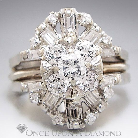 1 25ctw Round Amp Baguette Diamond Cluster Engagement Ring