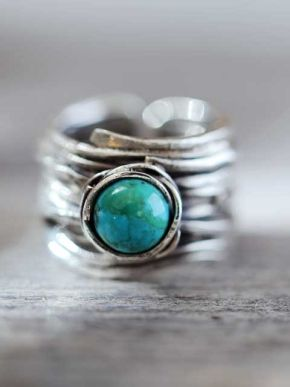 Silver ring turquoise - Happinez