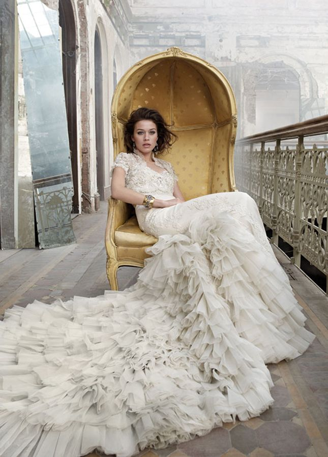 Love the drape of the dress. Ivory Baroque inspired vintage lace net