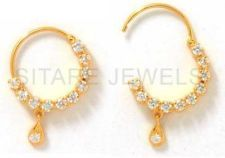 Gold CZ Nose Ring Zircon Nath - Free Shipping