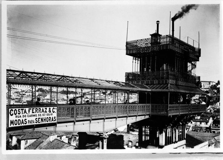 Ascenseur Santa Justa quand il fonctionnait à vapeur. HISTÓRIA DO ELÉCTRICO DA CARRIS,  edição oficial de MARINA TAVARES DIAS