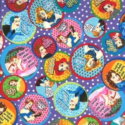 Moda Fabric - Keep it Sassy - Olive Sandwiches PURPLE Quirky Ladies - Cotto