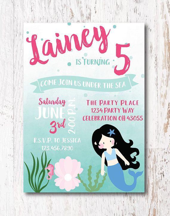 Mermaid Party Invitations Etsy Etsyshop Etsyfinds Mermaidparty Mermaidinvitation Invitation Invite Birthday Birthdayparty Woodlawndesign