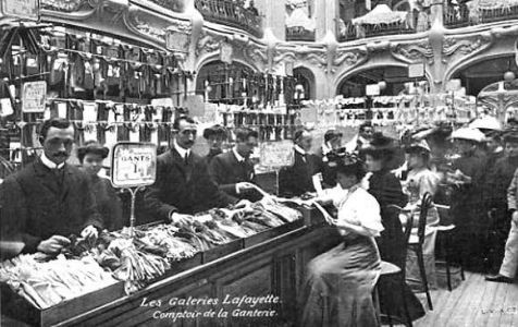 A selection of ladies gloves at Galeries Lafayette Haussmann in the 1900's.