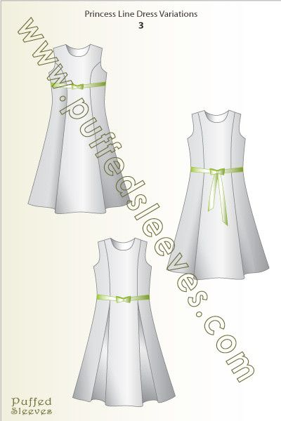 Scetch of a princess-line dresses with bow sash