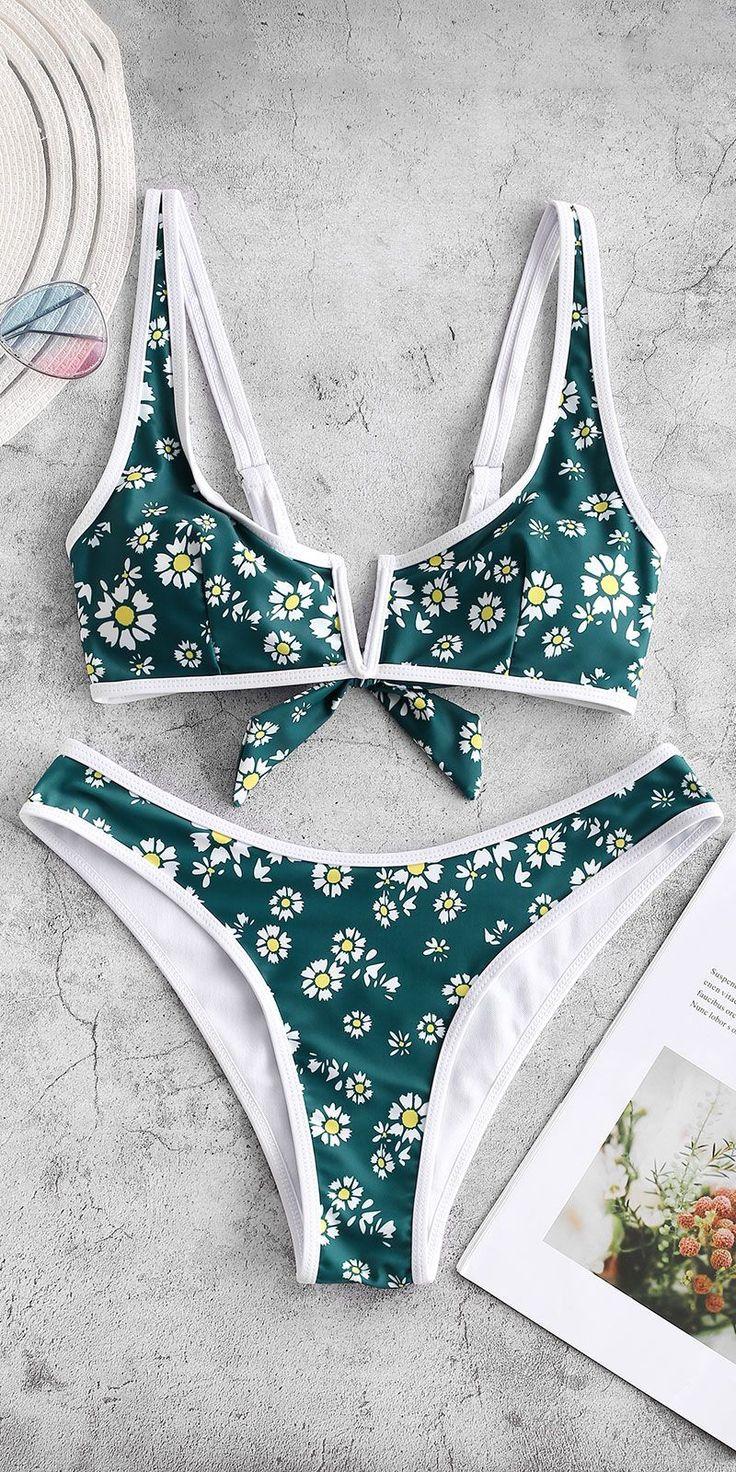 Daisy Print V-wired High Leg Bikini Swimsuit Style: Fashion  Swimwear Type: Biki…
