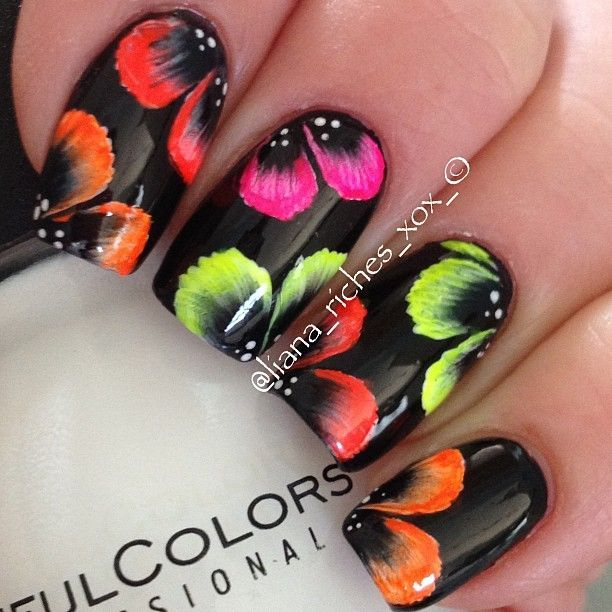 Gloss black nails with neon summer brights,  one stroke technique flowers, high skill level free hand nail art