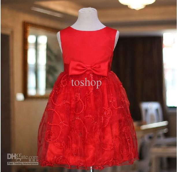 Wholesale Chinese Red Flower girl wedding dress princess dress for kid's gift child size present