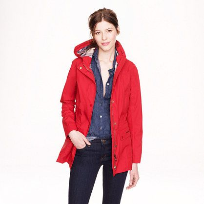 J.Crew outfits - Red Barbour jacket with denim shirt and dark rinse jeans
