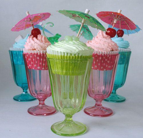 Cupcakes in sundae glasses