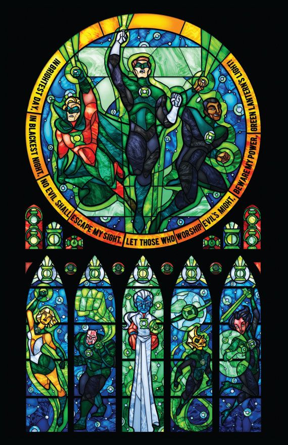 Full Size Green Lantern Corp Stained Glass por 0ShardsofColor0