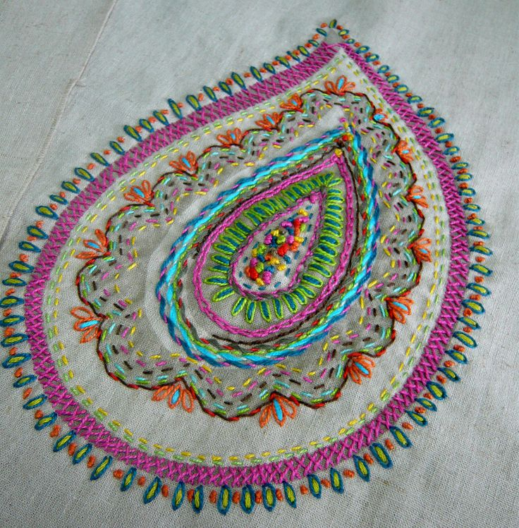 embroidered paisley http://www.flickr.com/photos/printscharmingoriginalfabrics/sets/72157620162597096/with/4924700609/ #embroidery #stitching #sewing