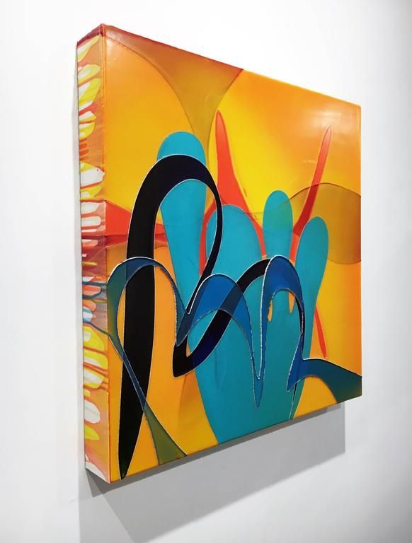 """Ronald Johnson - """"Crooked Steps"""" , Abstract Painting with Multiple Poured Layers , Vibrant Colors 1"""
