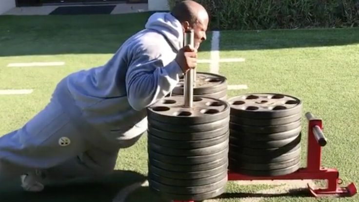From pushing a sled loaded with weights to hip-thrusting 675 pounds, 39-year-old James Harrison is a workout freak.