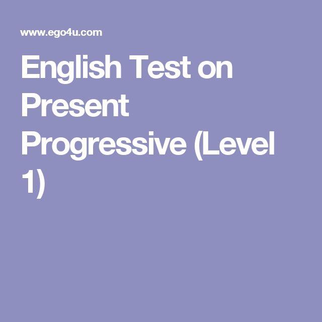 English Test on Present Progressive (Level 1)