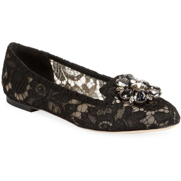 Dolce & Gabbana Women's Floral Ballet Flat - Black, Size 35 ($599) ❤ liked on Polyvore featuring shoes, flats, black, black ballet flats, black skimmer, ballet flats, floral shoes and ballet pumps