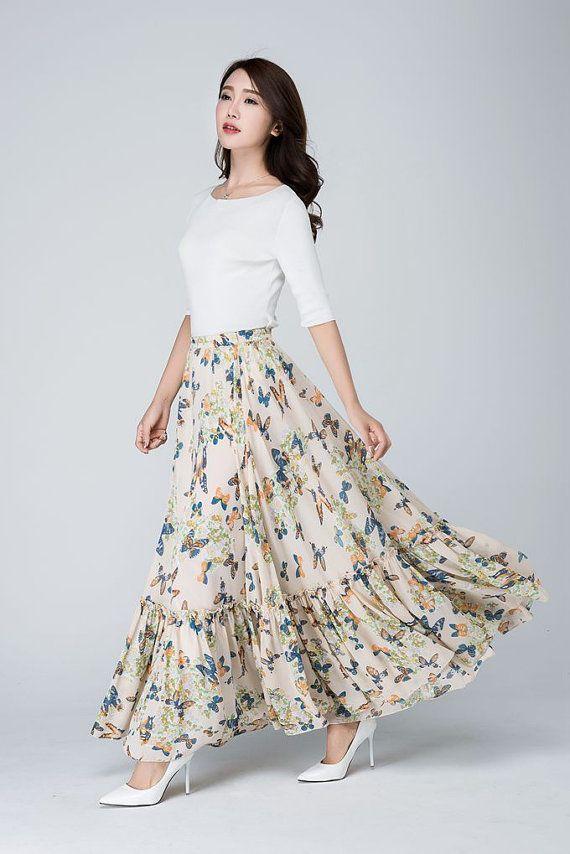 Chiffon skirt, maxi women's skirt, butterfly skirt, full length skirt, boho skirt, ruffle skirt, flared skirt, pleated skirt, custom (1565)