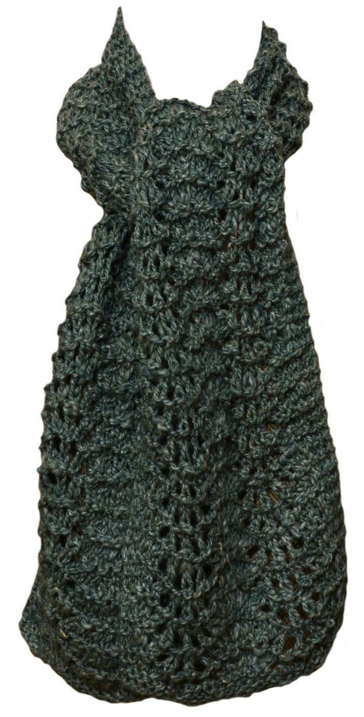 Hand Knit Scarf - Mint Tea Handspun Wool Silk Feather Fan Lace by StudioatRedTopRanch on Etsy