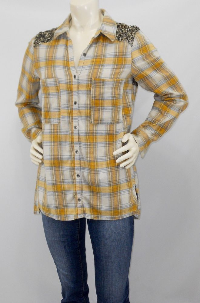 d8a97f87 Free People Small S Flannel Plaid Little Bit of Sugar Shirt Button Up  Yellow | eBay