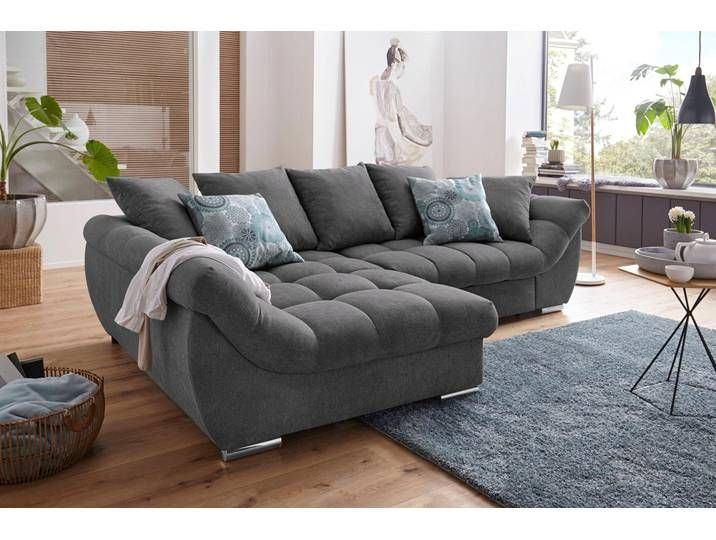 Nova Via Ecksofa Grau Luxus Microfaser Weich Sofa Mit