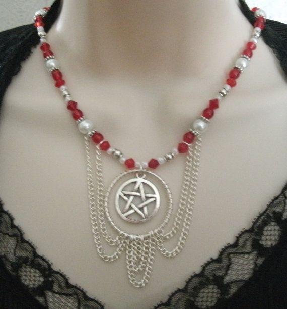 Red Pentacle ketting Wicca sieraden heidense door Sheekydoodle