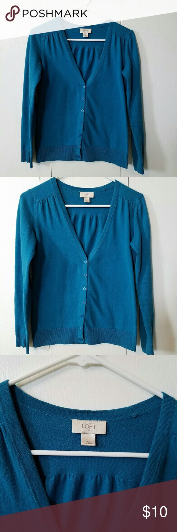 Turquoise cardigan Turquoise cardigan from Loft. Beautiful color! Great condition. LOFT Sweaters Cardigans