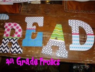 Idea from 4th Grade Frolics Blog... letters are from Michael's... trace and glue pattern paper!
