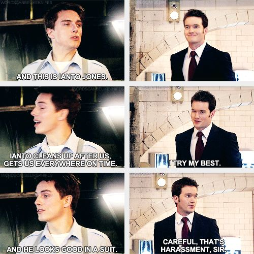 (gif set) Torchwood 1x01 Everything Changes ||| Jack and Ianto