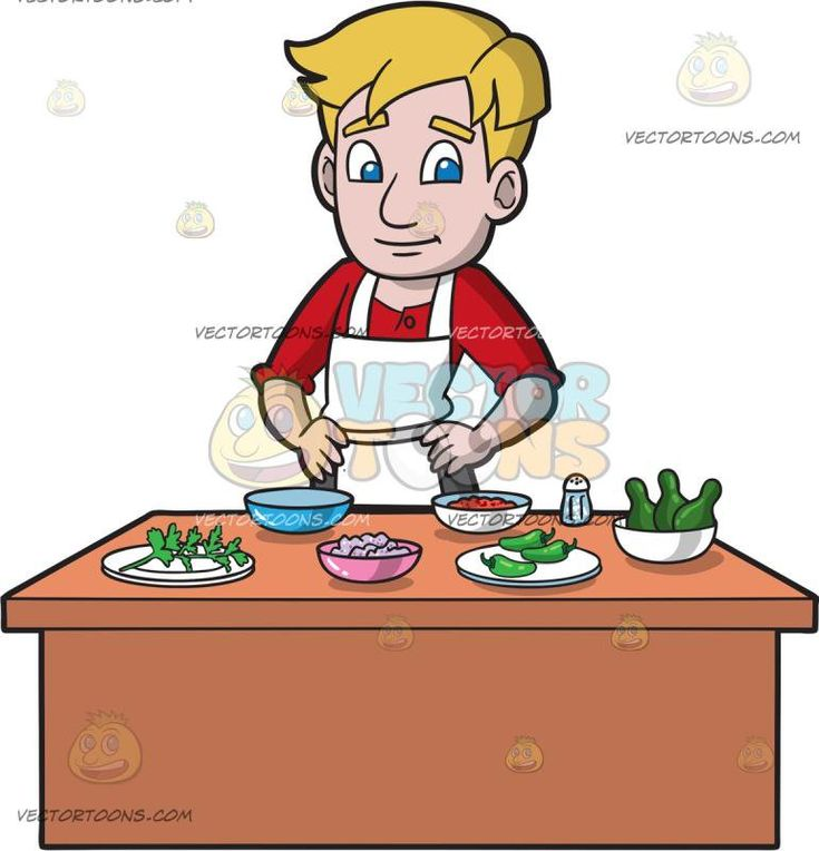 A Man Preparing The Ingredients To Make Guacamole:   A man with blonde hair wearing a red shirt gray pants white apron smiles while standing behind a light reddish brown table as he prepares the ingredients for making guacamole