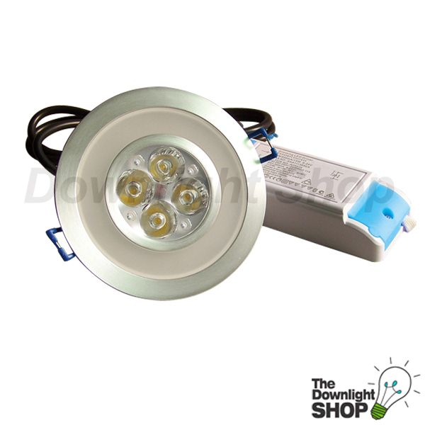 13W ACCENT LED DOWNLIGHT KIT, 60° (BRUSHED ALUMINIUM) WARM WHITE LIGHT - $58.40 SAVE: 24% OFF