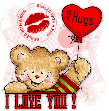 Hugs and Kisses I Love You love friendship animated romantic hugs love quote friend romance teddy bear i love you