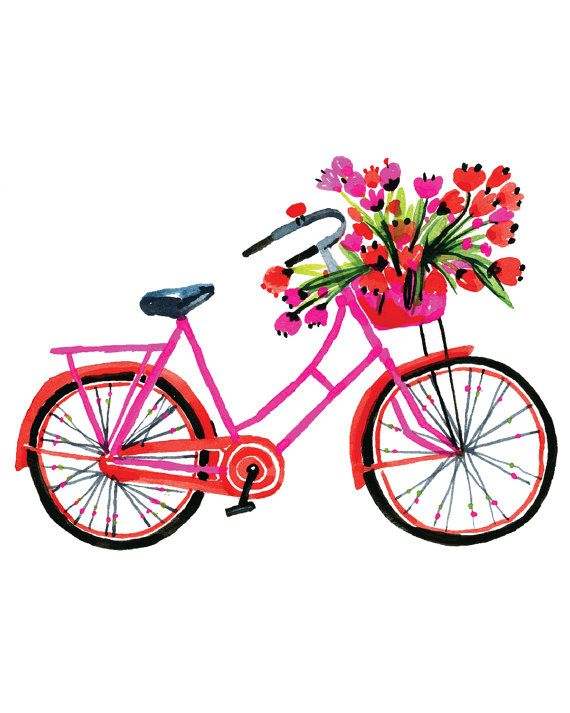 The pink bike is my favourite for cursing the town and the country for fresh flowers and locally grown fruit and veggies. Part of a series of bikes. https://www.etsy.com/ca/shop/CarolynGavinShophttps://www.etsy.com/ca/shop/CarolynGavinShop