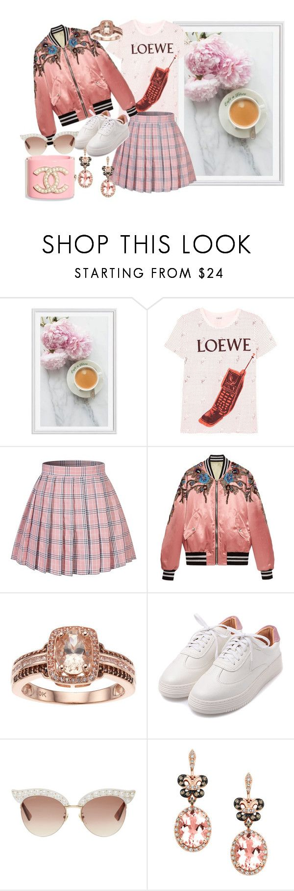 """""""Pink and White"""" by heidibartholdy on Polyvore featuring Pottery Barn, Loewe, Gucci, Effy Jewelry and Chanel"""