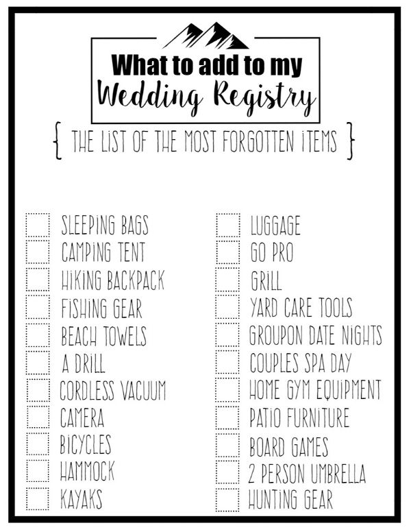 A complete Wedding Registry checklist of things that everyone forgets to add to their registry! Plus a free printable checklist to print off and keep for yourself when you're planning your wedding!