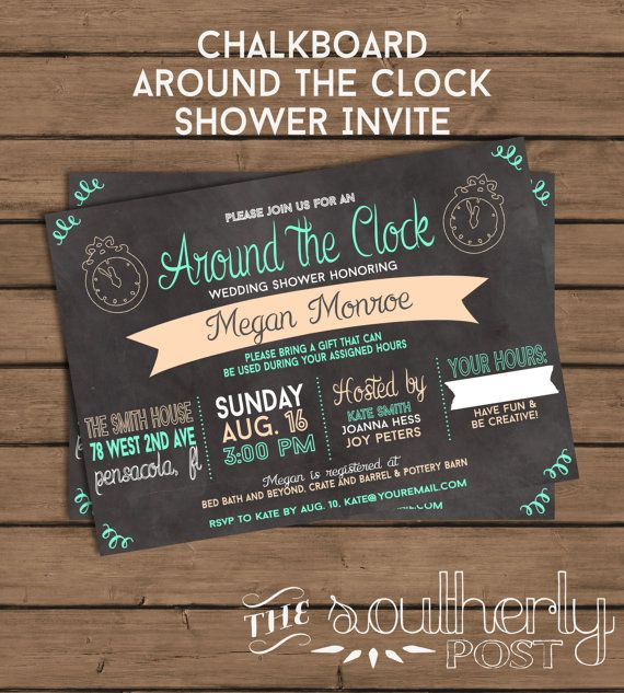 Around The Clock Wedding Shower Invitation