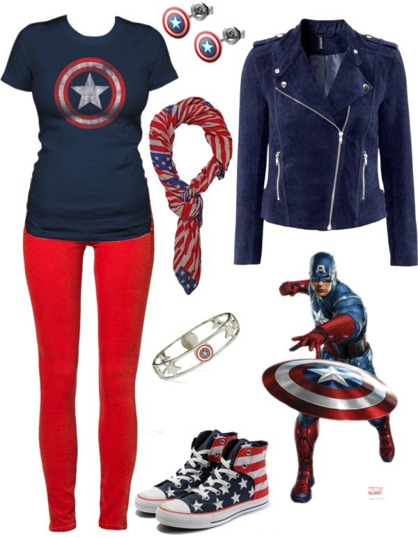 """The Patriot"" by rockymtnrain on Polyvore   Well I already have the jacket and the pants. I really want those earrings though"