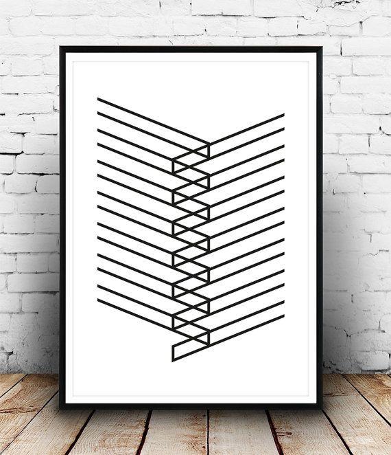 Abstract art Geometric print art Black and white door Wallzilla