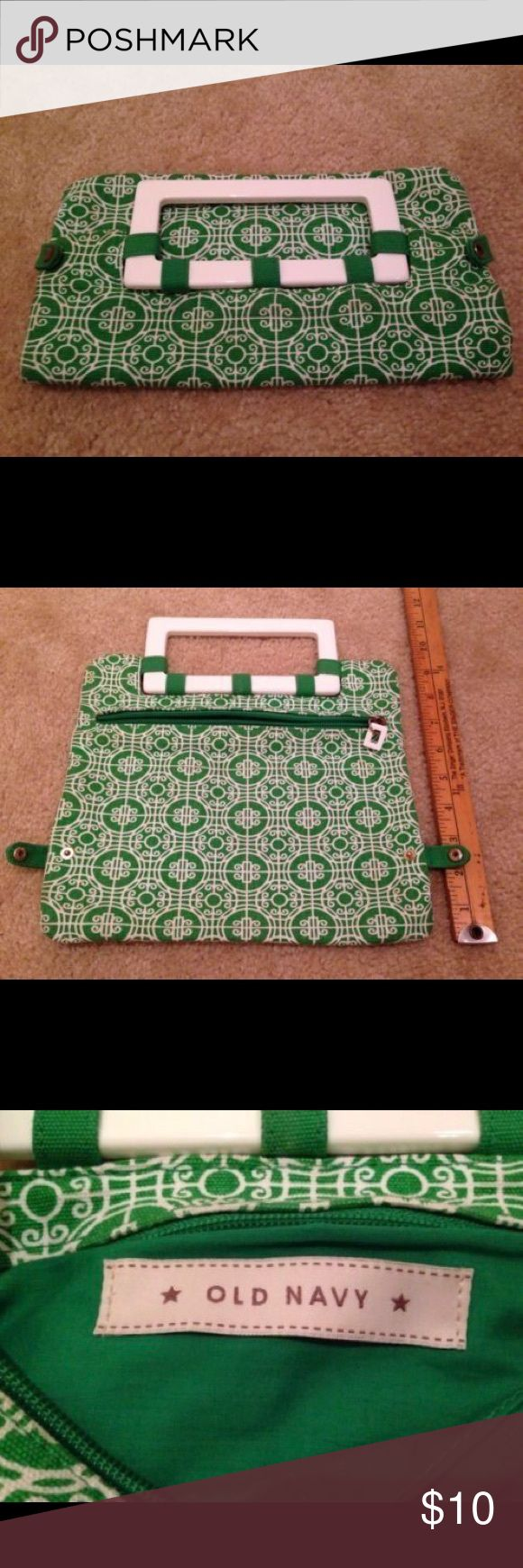 Old Navy Clutch handbag Unique handle Lime clutch Old Navy Clutch handbag Unique handle Lime Green White medallion pattern Purse. This is the Lilly Pulitzer type green.  Would look awesome with a Lilly outfit. Old Navy Bags Clutches & Wristlets
