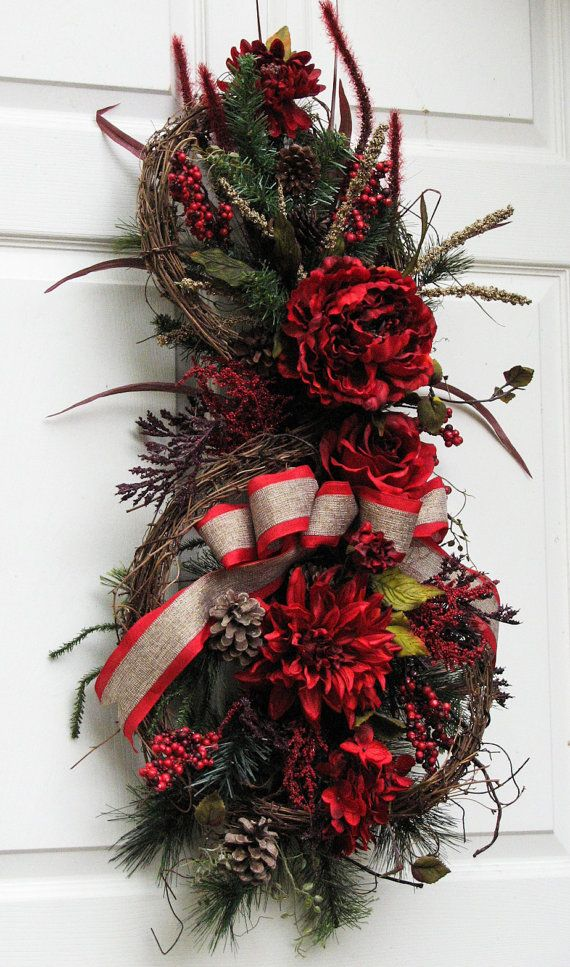 Door Swag Winter Wreath Red Holiday Winter by SimpleJoysofLife