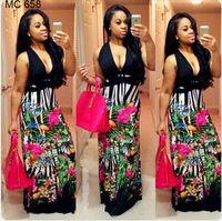 2017 directo de Fábrica de la ropa africana al por mayor estilos de impresión v-cuello de bodycon casual vestido maxi para las mujeres https://app.alibaba.com/dynamiclink?ck=share_detail