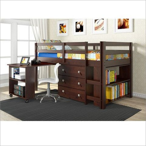Twin Bed with Storage - Loft, Desk, and Dresser - All in One