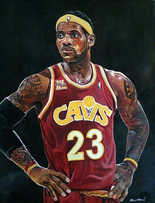 Lebron James Cleveland Cavaliers watercolor by Michael Pattison