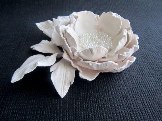 Handmade genuine leather flower brooch in by JewelryWithTaste