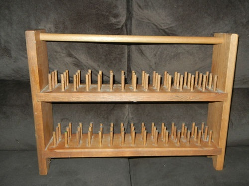 Quality Wood Sewing Thread Spool Holder Rack Organizer With Handle