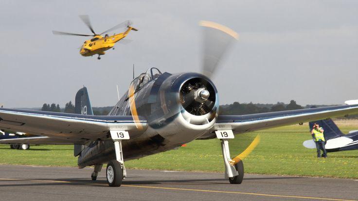 Bearcat, Hellcat and Corsair at The Duxford Air Show, 13th & 14th September 2014.