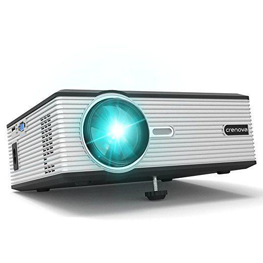 Beamer, Crenova XPE470 Mini Beamer 130〃Support HD 1080P Video via USB-Stick iPad iPhone für Heimkino - Schwarz